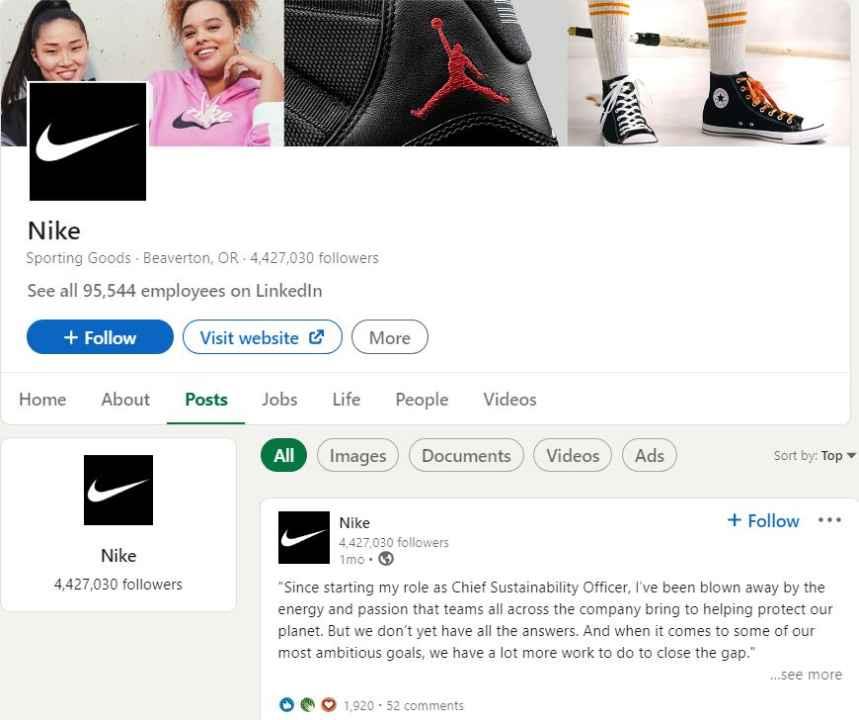 LinkedIn Nike account